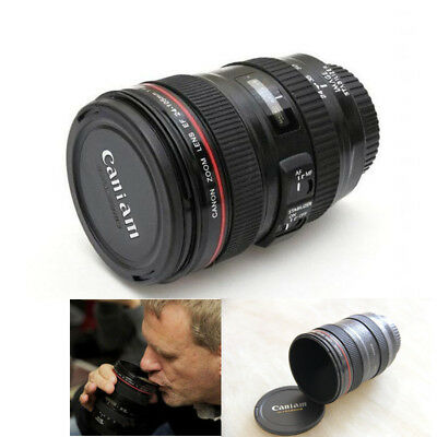 New Coffee Lens Emulation Camera Mug Cup Beer Cup Wine Cup With Lid Black