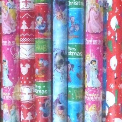 27 X DISNEY & CARTOON CHRISTMAS WRAPPING PAPER ROLLS GIFT JOB LOT (f)