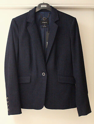 Ladies M&S Autograph Size 10 Smart Wool Blend Jersey Tailored Jacket Bnwt Navy