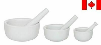HIC Porcelain Set of 3 Mortar and Pestle White