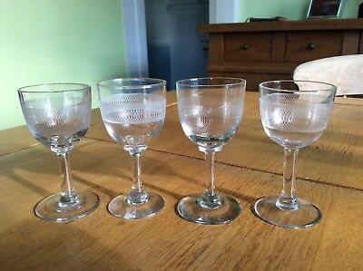 Pall mall sherry/shot glasses vintage Victorian x 4 ectched