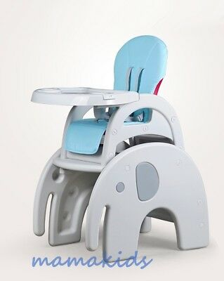 3 in 1 High Chair, Table and Chairs from 6 months to 6 years Pink & Blue