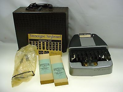 Steno Machine La Salle Stenotype Court Stenograher W- Case Instructions Paper