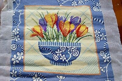 NEEDLEPOINT PANEL CROCUS IN CHINESE BOWL Tent Stitch Completed Picture Cushion