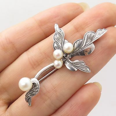 Vtg 925 Sterling Silver Real Pearl Floral Handmade Pin Brooch