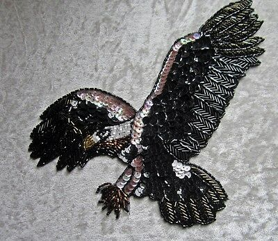 "9"" Wing Span  Gorgeous Beaded Bald Eagle In Flight Appliqué"