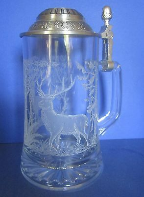 Glass Etched With Magnificent Stags Bayern Lidded German Beer Stein