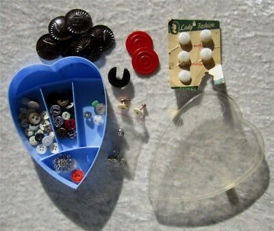 Vintage Plastic Heart Compartment Box With Mixed Era Buttons