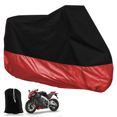 NEW Waterproof Motorcycle Motorbike Scooter Moped Rain Cover XXL Black Red