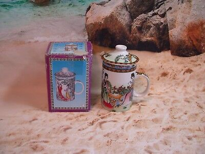 """Chinese Tea Cup Infuser with Lid Four Geisha Women Colorful 6"""" Tall"""