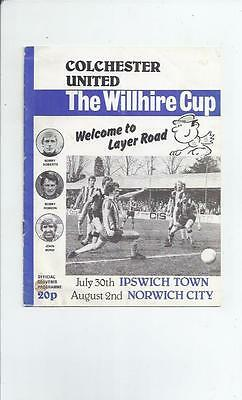 Colchester United v Ipswich & Norwich City Willhire Cup Double Programme 1979/80