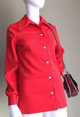 VINTAGE 70's Red White contrast Stitch DAGGER Collar Ladies Mod Shirt - Vtg - 10