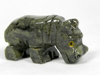"""Peruvian Soapstone Animal Hippo Carving Hand Carved .75"""" Figure From Peru"""