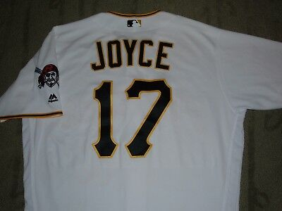 MATT JOYCE PITTSBURGH PIRATES GAME USED WORN '16 JERSEY MLB HOLOGRAM (A's RAYS)