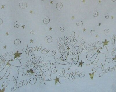 "3.3 Yds Daisy Kingdom Boarder Print Joy Peace Love Angels 44"" Wide"