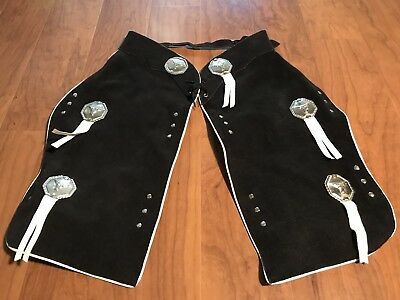 Kids CHILDS LEATHER CHAPS Cowboy Rodeo Longhorn Halloween Western RODEO Boy Girl