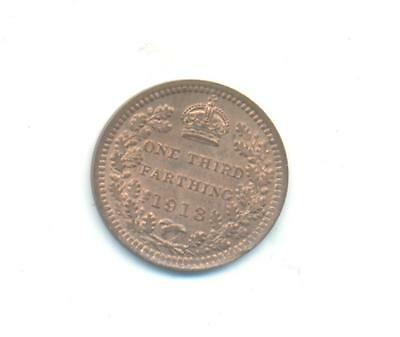 Very Rare.malta (Great Britain) 1/3 Farthing 1913.unc.very Collectable.l.109