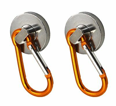 (2)10L0L SUPER-Strong Neodymium Magnet Holds 40 Lbs! Carabiner Snap Hook