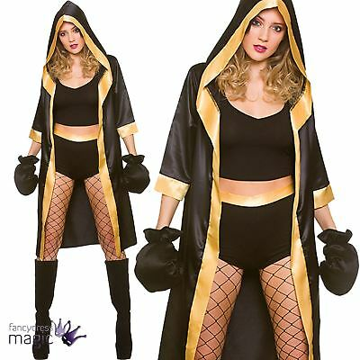 Ladies Knockout Boxer Boxing Sexy Champion Fancy Dress Outfit Robe + Gloves