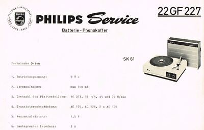 Philips Plattenspieler 22 GF227 Schaltplan Manual 1966 Original SK61 22gf227