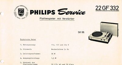 Philips Plattenspieler 22 GF332 Schaltplan Manual 1966 Original SK66 22gf332