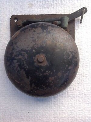 Antique Cast Iron Mechanical Pull Chain Door Bell Country Store Fire N/R