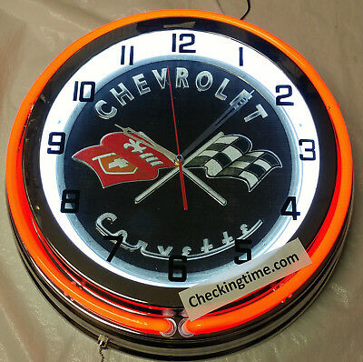 "Chevrolet Chevy Corvette Flag Vintage Style 19"" Red Neon Clock Mancave Garage"