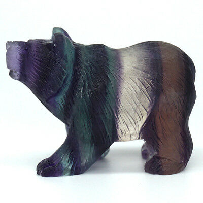 Colorful Fluorite Bear Statue Crystal  Christmas Ornament Natural Stone Figurine