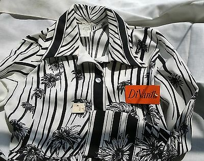 1970's mod polyester blouse by Di Vanti w/ tags black and white floral / stripes