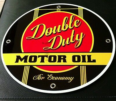 """Double Duty Gasoline gas oil sign ...~12"""" round"""