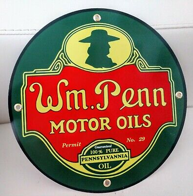 William Penn Gasoline gas oil sign ..FREE ship on 10 signs