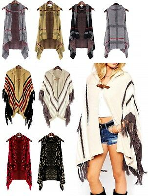 Women's Winter Ruana Poncho Fringe Knitted Shawl sweater Ladies USA SELLER