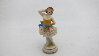 """Uncommon Miniature Muller Volkstedt MV Germany Dresden Lace Figurine 2 3/8"""" Tall"""