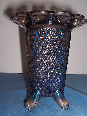 Vintage Imperial Smoke Carnival Glass Diamond Point Footed Vase Spooner