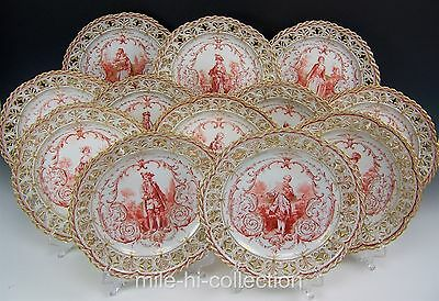 Rare Set Of 12 Kpm Berlin Hand Painted Noble Women & Men Reticulated Plates