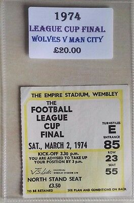 1974 LEAGUE CUP FINAL MATCH TICKET WEMBLEY STADIUM  WOLVES vs. MAN CITY - YELLOW
