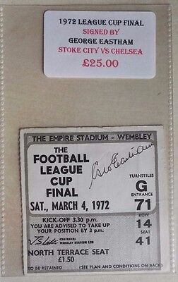 1972 LEAGUE CUP FINAL MATCH TICKET WEMBLEY STADIUM  STOKE vs. CHELSEA - AUTO