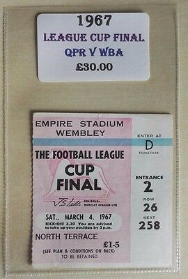 1967 LEAGUE CUP FINAL MATCH TICKET WEMBLEY STADIUM  Q.P.R. vs. WEST BROMWICH.
