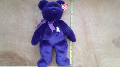 "14"" Princess Diana Purple TY Original Beanie Buddy White Rose Pellets 1998 NEW"