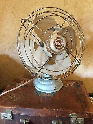 Vintage Ekcon Electric Oscillating Industrial Blue Atomic Fan Cooler