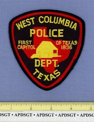WEST COLUMBIA TEXAS Sheriff Police Patch FIRST CAPITOL OF TX LONE STAR STATE