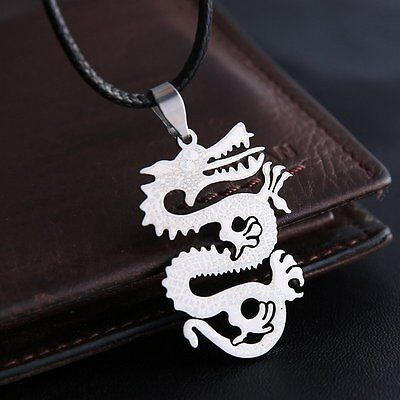 Retro Men's Silver Stainless Steel Necklace Chrams Pendant Leather Chain Jewelry