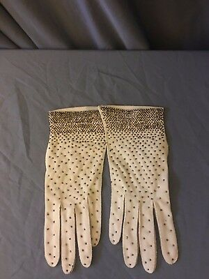Vintage Beaded Dress gloves made in the British crown colony of Hong Kong Size 7