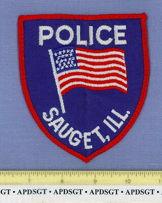 SAUGET (~Old Vintage) ILLINOIS IL Sheriff Police Patch WAVING US FLAG
