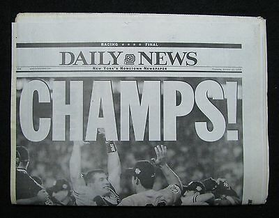 """CHAMPS!"" Oct 22,1998 NY Daily News Newspaper Yankees Win 4 Strait NMTMT"