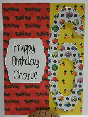 Handmade birthday card Pokemon personalised *FREE POST*