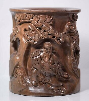 Beautiful Carved Chinese Brush Pot, Man w/ Bat in Landscape, BEAUTIFUL & Heavy!