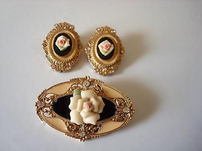 1928 Jewelry Company Brooch & Earrings Porcelain Rose Enamel Rhinestones As Is