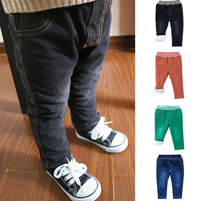 Kids Baby Boys Winter Denim Jeans Casual Pants Thick Elastic Waistband Trousers