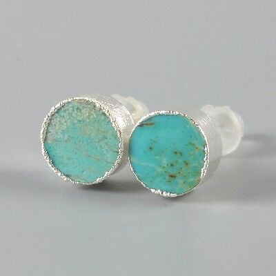 925 Sterling Silver 8mm Round Natural Genuine Turquoise Stud Earrings H99420
